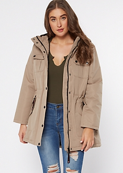 Beige Long Length Utility Anorak Coat