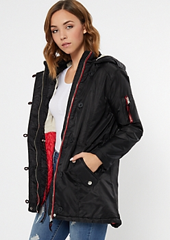 Black Fur Lined Cinched Button Down Anorak Coat