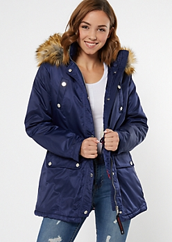 Navy Cinched Faux Fur Collar Anorak Coat