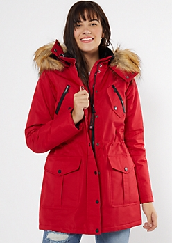 Red Faux Fur Lined Long Length Anorak Coat