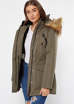 Olive Faux Fur Lined Long Length Anorak Coat