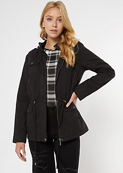 Black Twill Sherpa Lined Anorak Jacket