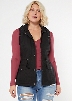 Black Sherpa Lined Hooded Anorak Vest