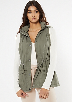 Olive Sherpa Lined Hooded Anorak Vest