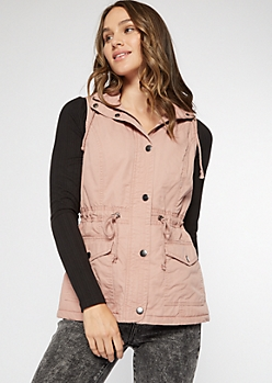Pink Sherpa Lined Hooded Anorak Vest