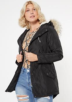 Black Nylon Sherpa Hood Anorak Jacket