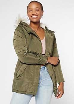 Olive Nylon Sherpa Hood Anorak Jacket