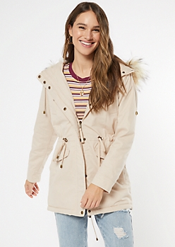 Taupe Sherpa Lined Hooded Anorak Jacket