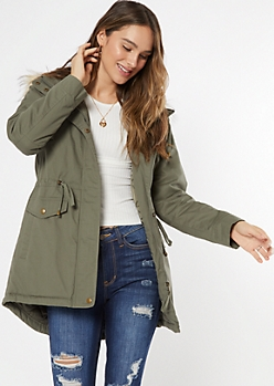 Olive Sherpa Lined Hooded Anorak Jacket