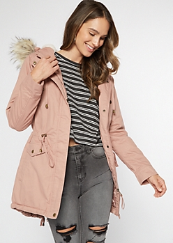 Pink Sherpa Lined Hooded Anorak Jacket