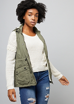 Olive Faux Sherpa Lined Anorak Vest