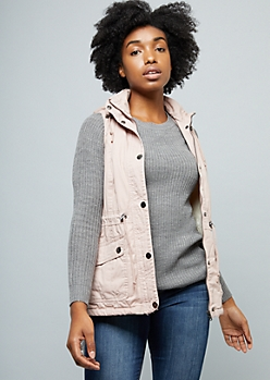 Pink Faux Sherpa Lined Anorak Vest