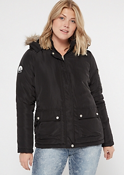 Black Faux Fur Hooded Long Length Anorak Jacket