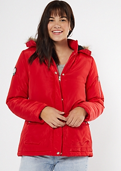 Red Faux Fur Hooded Long Length Anorak Jacket