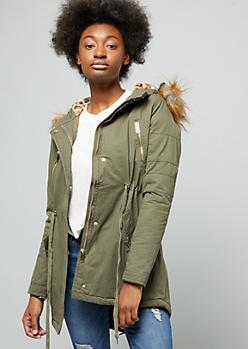 Olive Leopard Print Faux Fur Hood Long Anorak Jacket