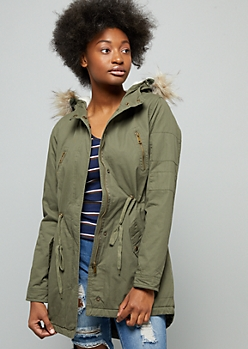 Olive Faux Fur Hood Long Anorak Jacket