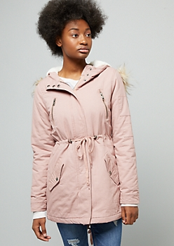 Pink Faux Fur Hood Long Anorak Jacket