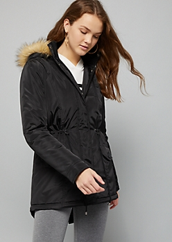 Black Faux Fur Hooded Anorak Coat