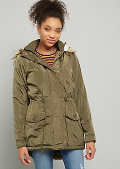 Olive Faux Fur Hooded Anorak Coat