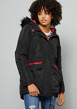 Black Removable Faux Fur Trim Hooded Anorak Coat