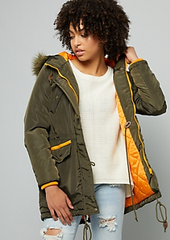 Dark Green Removable Faux Fur Trim Hooded Anorak Coat