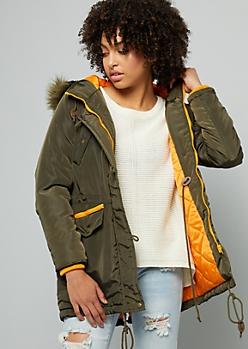 Dark Green Removable Faux Fur Trim Hooded Anorak Coat