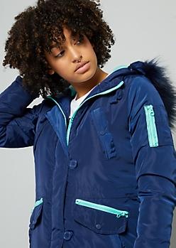 Blue Removable Faux Fur Trim Hooded Anorak Coat