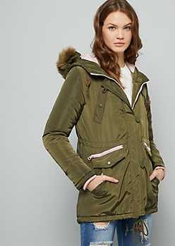 Olive Removable Faux Fur Trim Hooded Anorak Coat