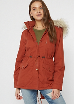 Orange Sherpa Utility Fur Lined Anorak Coat