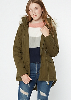 Olive Sherpa Utility Fur Lined Anorak Coat