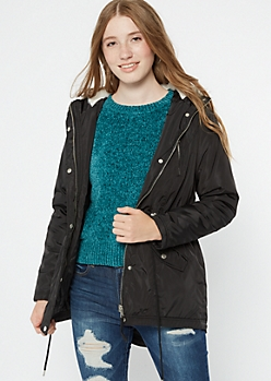 Black Faux Fur Lined Hooded Anorak Coat