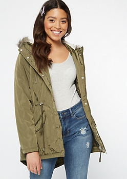 Olive Faux Fur Lined Hooded Anorak Coat