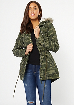 Camo Print Faux Fur Lined Hooded Anorak Coat