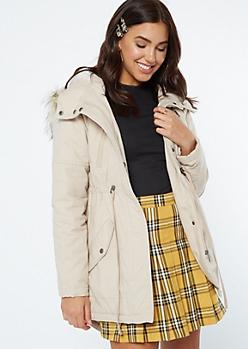 Beige Quilt Fur Hood Anorak Jacket