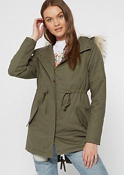 Olive Quilt Fur Hood Anorak Jacket