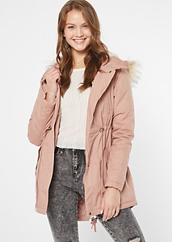 Pink Quilt Fur Hood Anorak Jacket