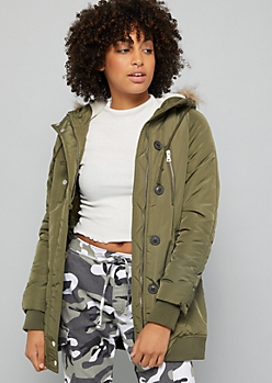 Olive Sherpa Faux Fur Trim Hooded Anorak