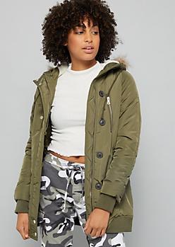 Olive Sherpa Hood Puffer Coat