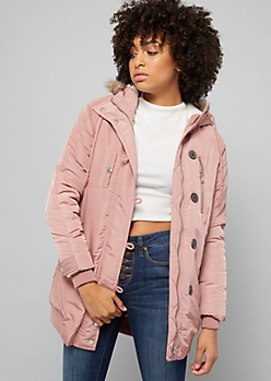 Pink Sherpa Faux Fur Trim Hooded Anorak