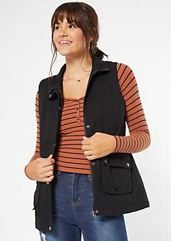 Black Drawstring Sherpa Vest