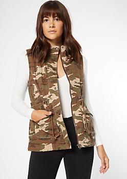 Camo Print Drawstring Sherpa Vest