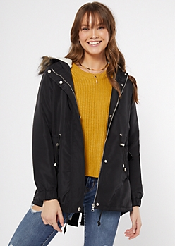 Black Fur Trim Sherpa Lined Anorak Coat