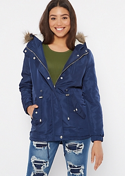 Navy Fur Trim Sherpa Lined Anorak Coat