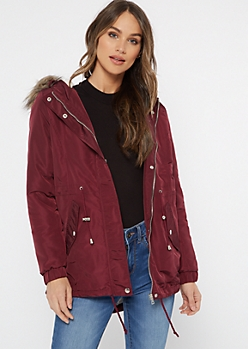 Burgundy Fur Trim Sherpa Lined Anorak Coat