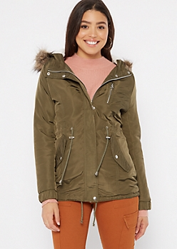 Olive Fur Trim Sherpa Lined Anorak Coat