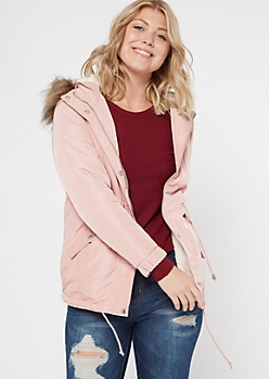 Pink Fur Trim Sherpa Lined Anorak Coat