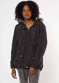 Black Sherpa Lined Detachable Fur Hood Anorak Jacket
