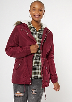 Burgundy Sherpa Lined Detachable Fur Hood Anorak Jacket