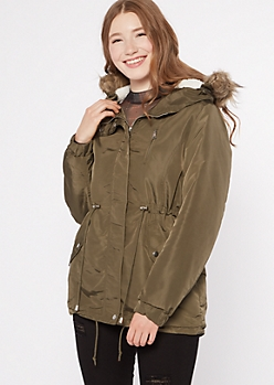 Olive Sherpa Lined Detachable Fur Hood Anorak Jacket