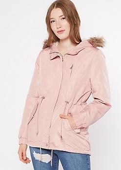 Pink Sherpa Lined Faux Fur Hood Anorak Jacket